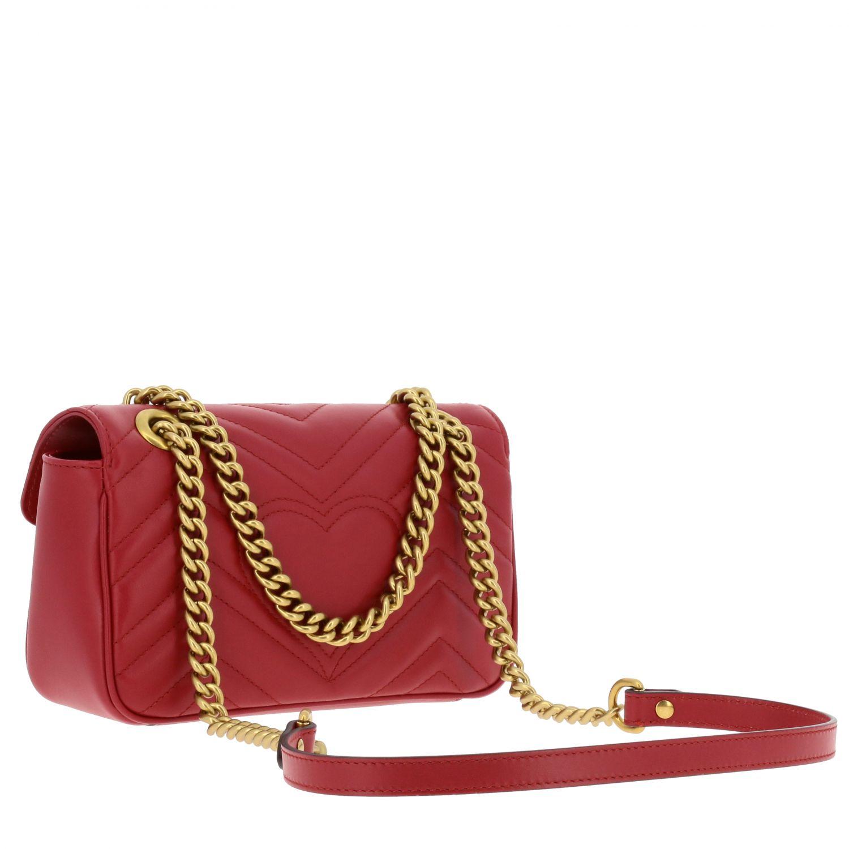 Borsa a tracolla Marmont Gucci in pelle chevron con monogramma rosso 2