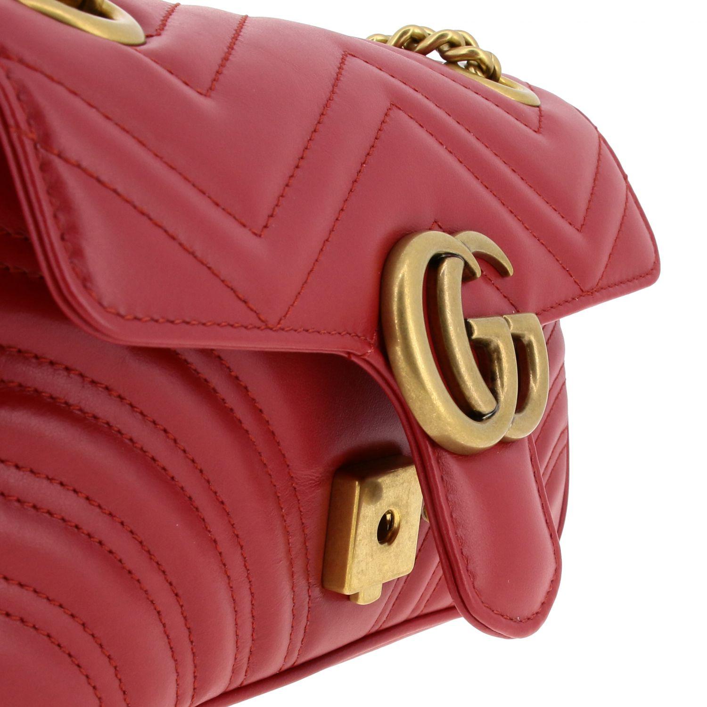 Borsa a tracolla Marmont Gucci in pelle chevron con monogramma rosso 3