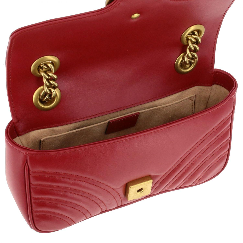 Borsa a tracolla Marmont Gucci in pelle chevron con monogramma rosso 4