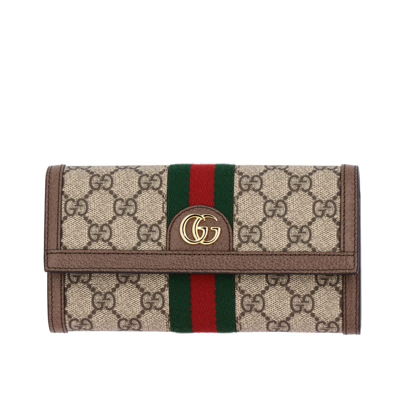 Кошелек Gucci из кожи GG Supreme с монограммой бежевый 1