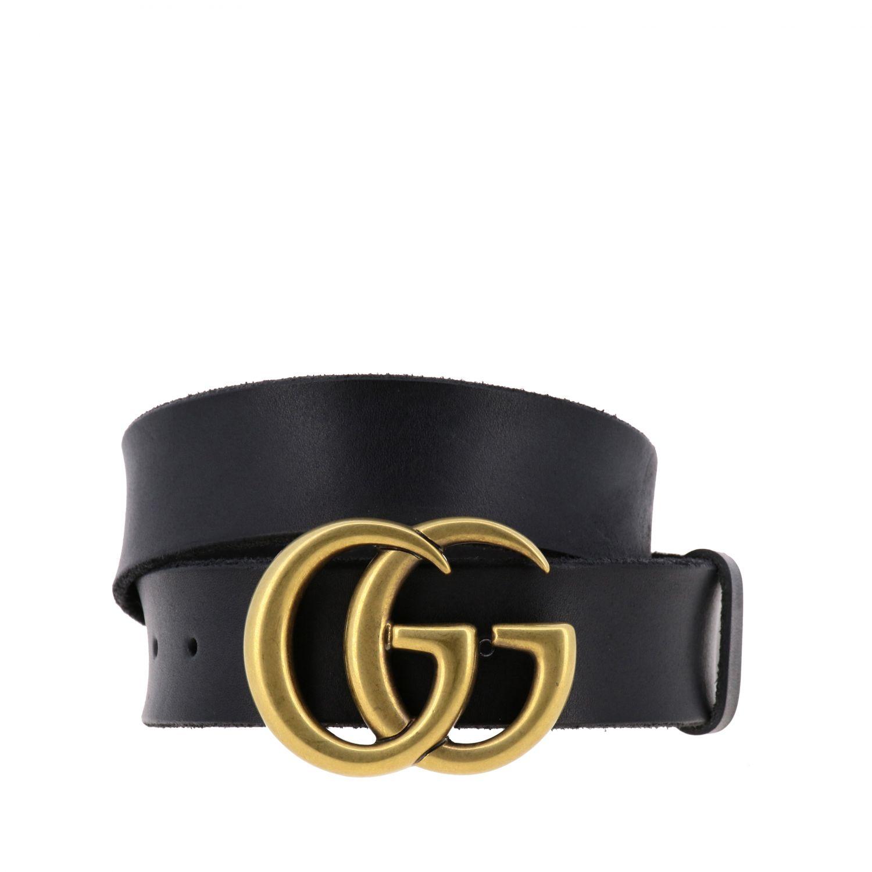 Gucci Gürtel aus schattiertem Leder mit GG Schnalle schwarz 1