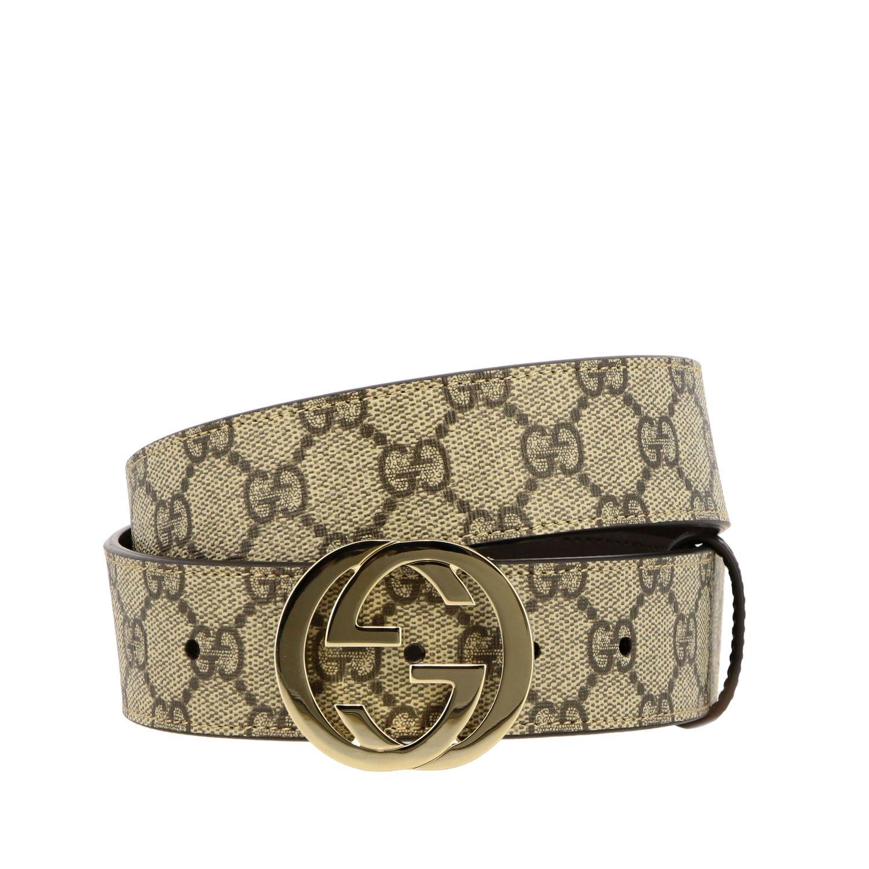 Cintura Gucci in pelle GG Supreme con fibbia GG beige 1