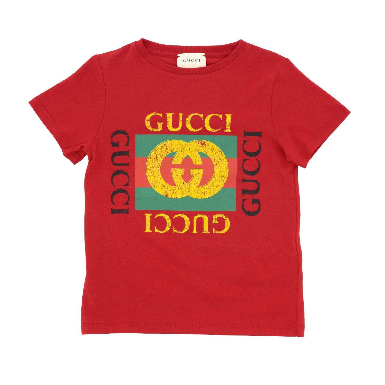 T-shirt Gucci: T-shirt Gucci a maniche corte con stampa logo rosso 1