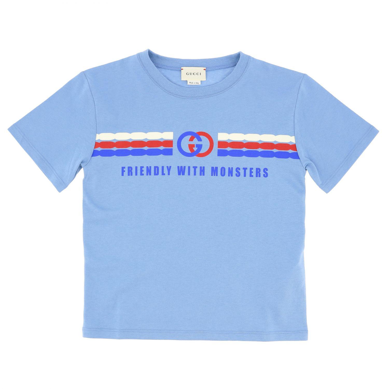 T-shirt Gucci: T-shirt Gucci a maniche corte con stampa Gucci nodi azzurro 1