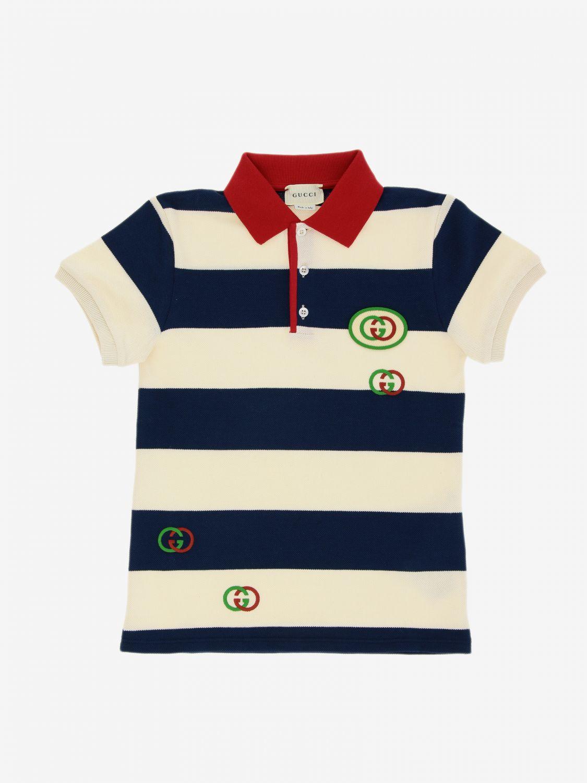 T-shirt Gucci: Polo Gucci in cotone piquet a righe con patch logo GG blue 1