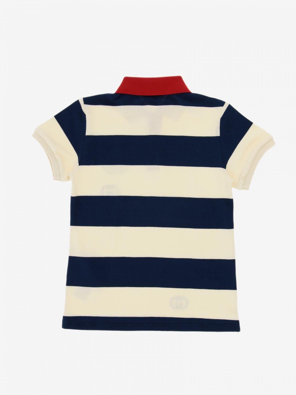T-shirt Gucci: Polo Gucci in cotone piquet a righe con patch logo GG blue 2