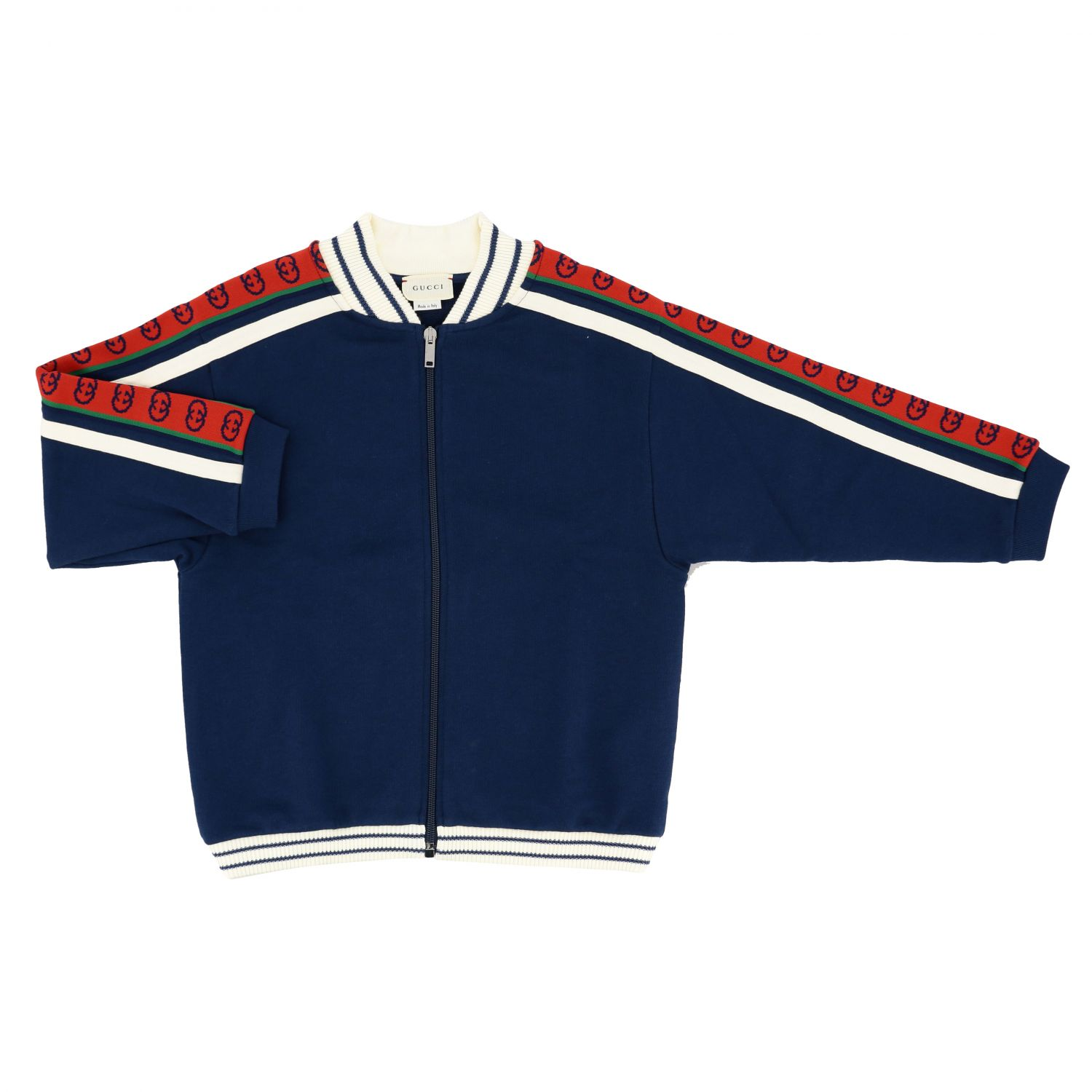 Gucci sweatshirt with logoed bands blue 1