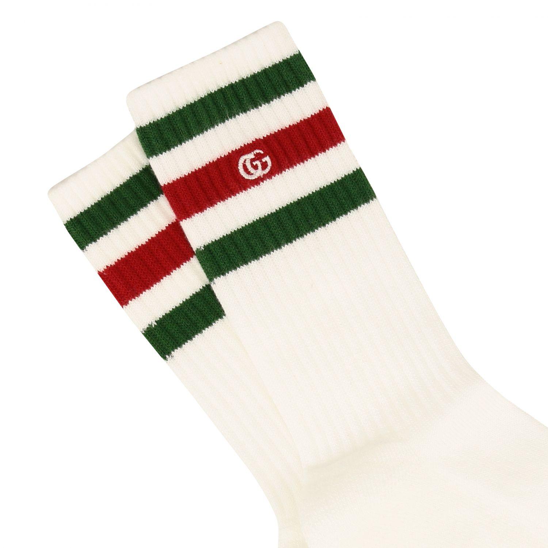 Chaussettes éponge Gucci avec bande web et logo vert 2