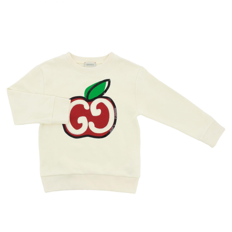 Maglia Gucci con stampa mela di paillettes bianco 1