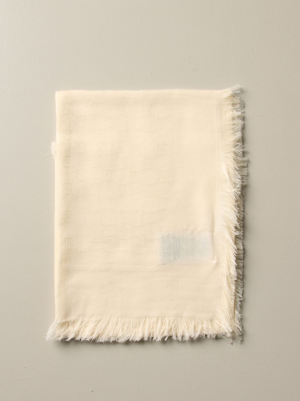 Gucci 基本款头巾围巾 白色 1