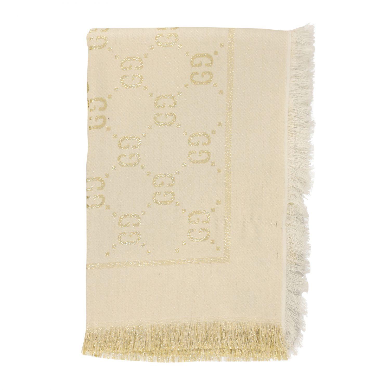 Neck scarf Gucci: Gucci kefia in lurex fabric with GG monogram yellow cream 1