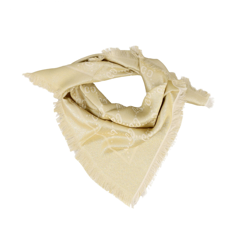 Neck scarf Gucci: Gucci kefia in lurex fabric with GG monogram yellow cream 2