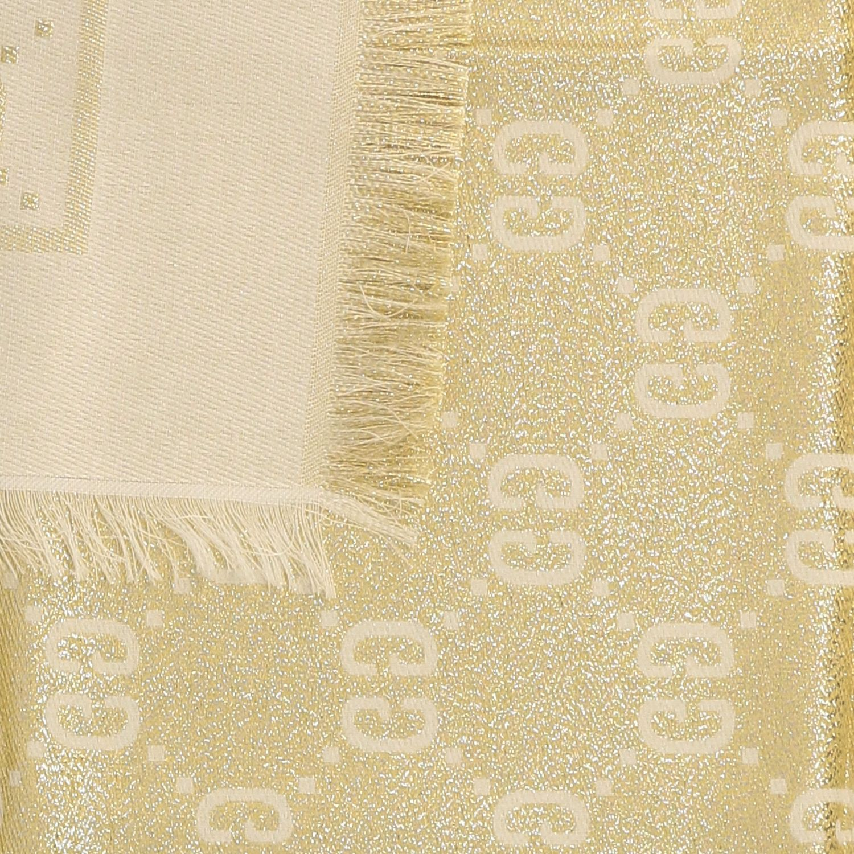 Neck scarf Gucci: Gucci kefia in lurex fabric with GG monogram yellow cream 3