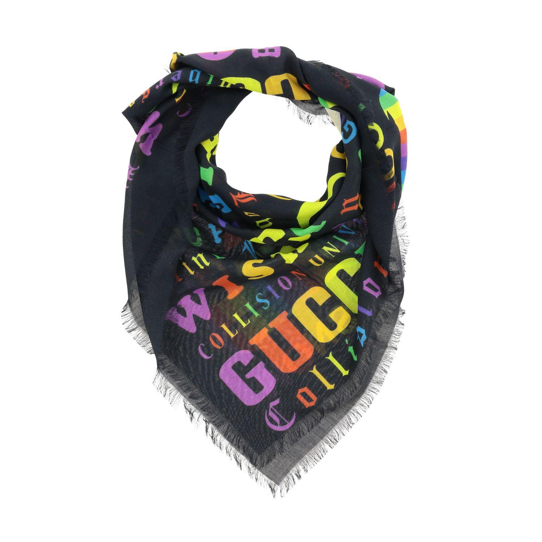 Neck scarf Gucci: Kefia Gucci with all-over multicolor logo black 2