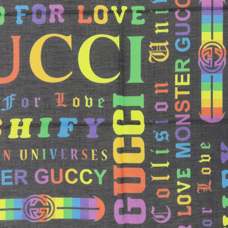 Платок 90x90 gg с принтом Детское Gucci черный 3