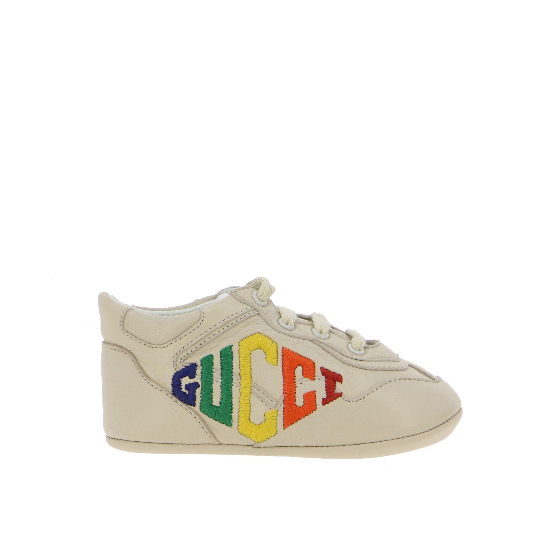 Chaussures Gucci: Sneakers Gucci Baby Rythm en cuir avec logo brodé blanc 1