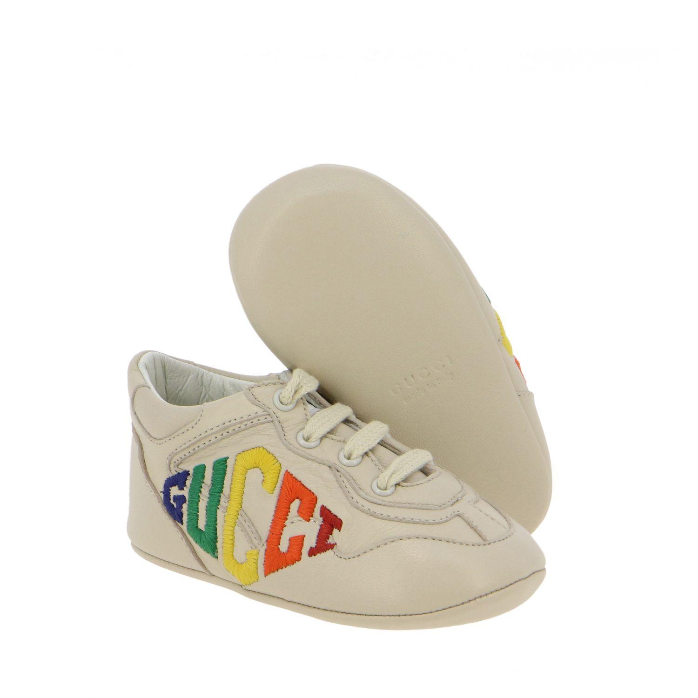 Chaussures Gucci: Sneakers Gucci Baby Rythm en cuir avec logo brodé blanc 2
