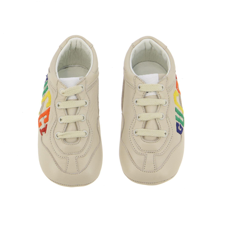 Chaussures Gucci: Sneakers Gucci Baby Rythm en cuir avec logo brodé blanc 3