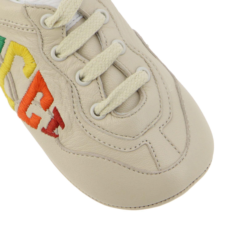 Chaussures Gucci: Sneakers Gucci Baby Rythm en cuir avec logo brodé blanc 4
