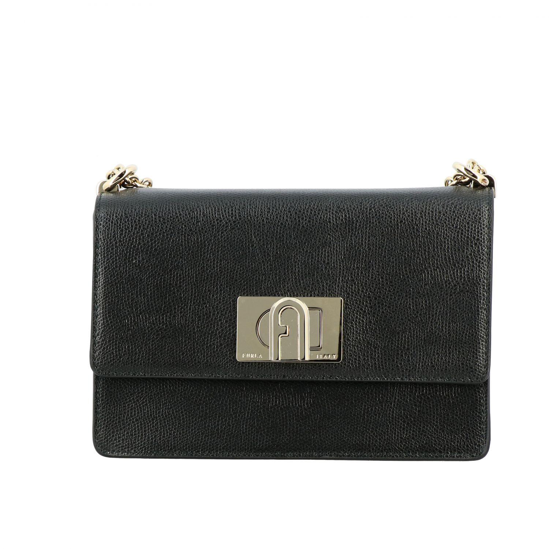 Ares Furla shoulder bag in textured leather black 1