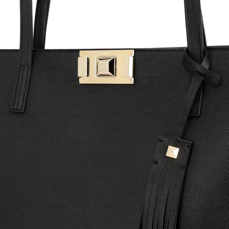 Mimì Furla Shopper aus strukturiertem Leder schwarz 4
