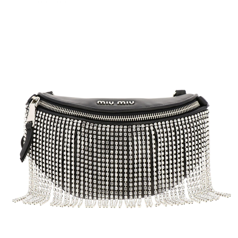Pouch / Bag Miu Miu in leather with rhinestone fringes black 1