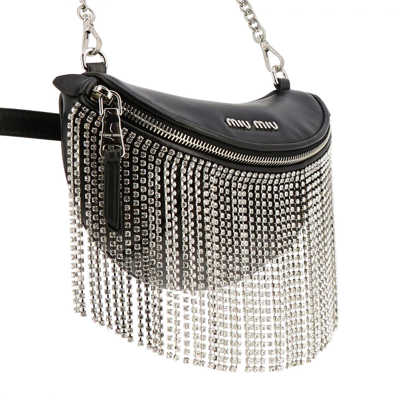 Pouch / Bag Miu Miu in leather with rhinestone fringes black 4