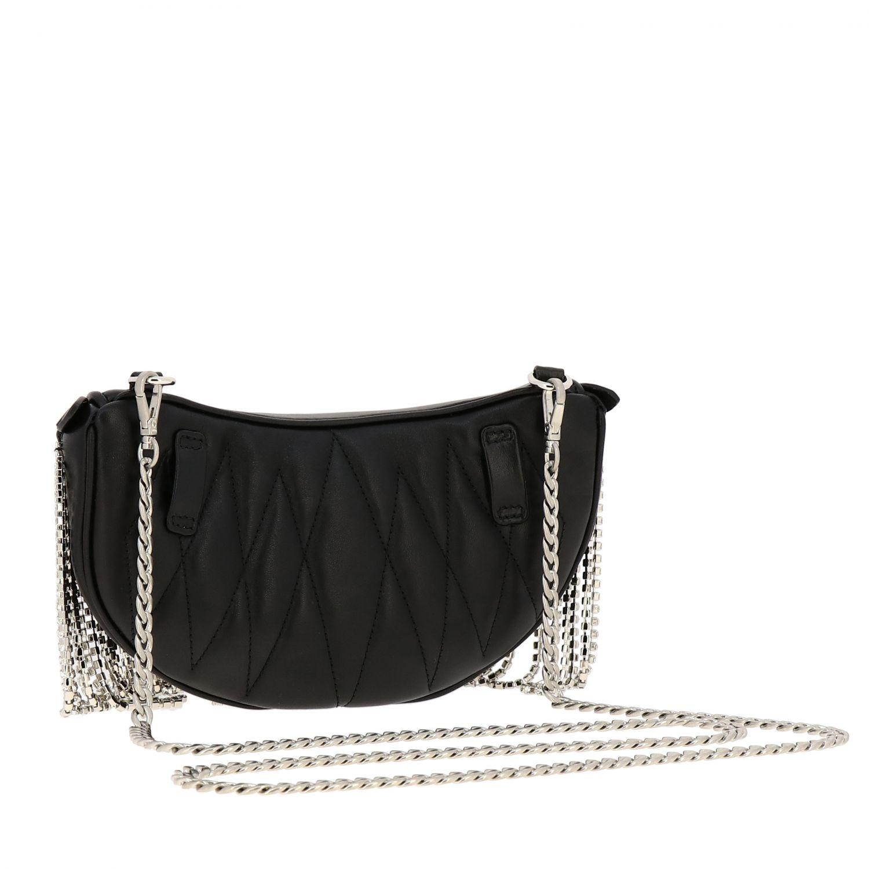 Pouch / Bag Miu Miu in leather with rhinestone fringes black 5