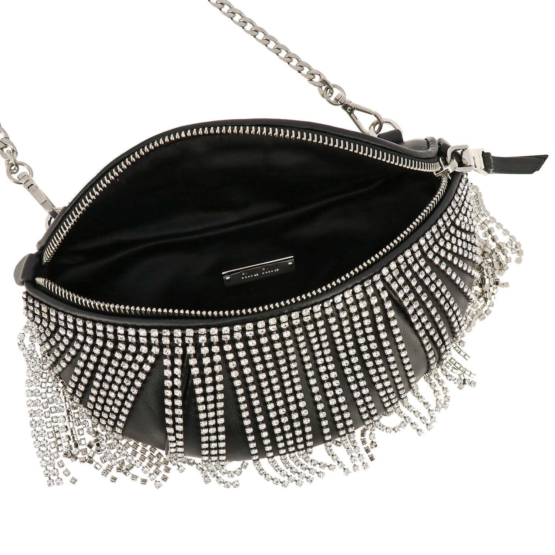 Pouch / Bag Miu Miu in leather with rhinestone fringes black 6