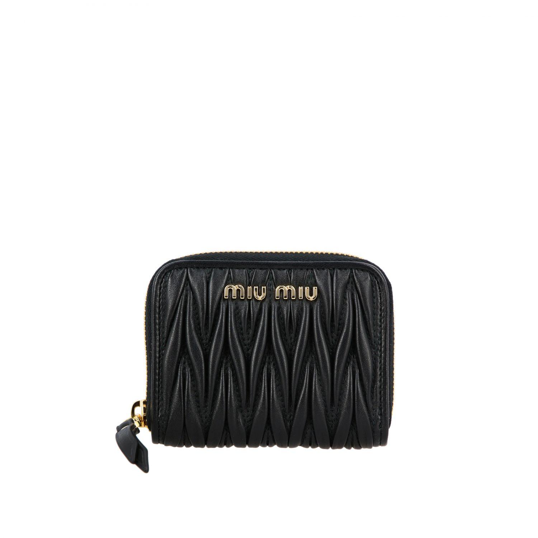 Miu Miu logo装饰matelassé真皮钱包 黑色 1