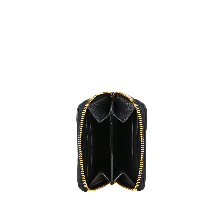Miu Miu logo装饰matelassé真皮钱包 黑色 2