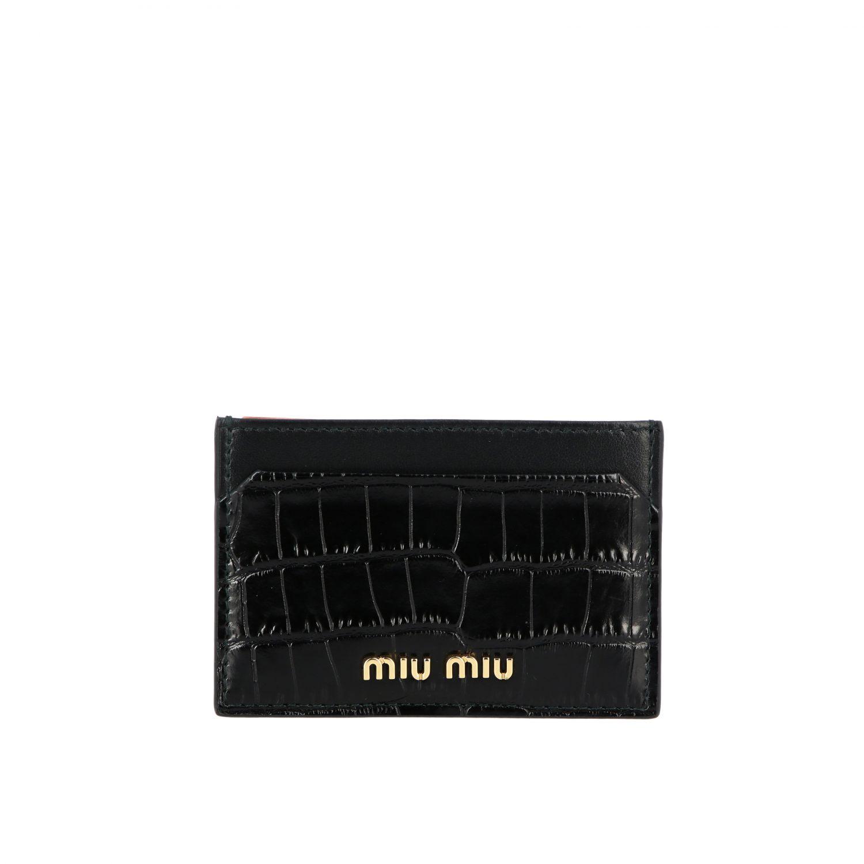 Porta carte di credito in pelle stampa cocco con logo nero 1