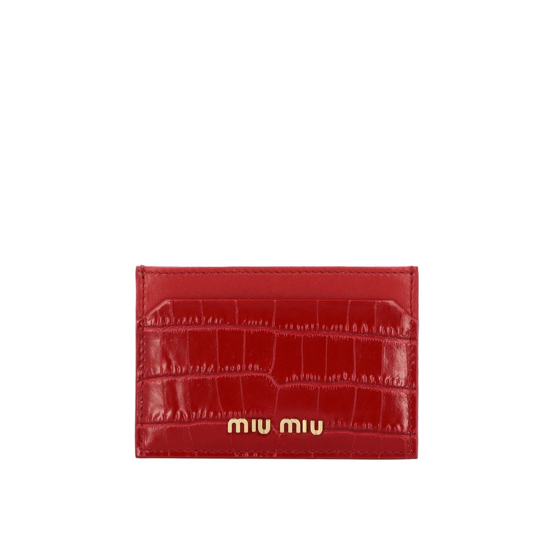 Porta carte di credito in pelle stampa cocco con logo rosso 1