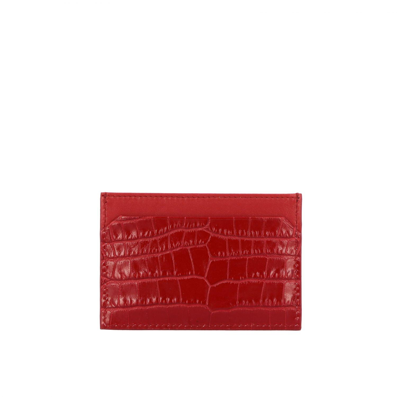 Porta carte di credito in pelle stampa cocco con logo rosso 2