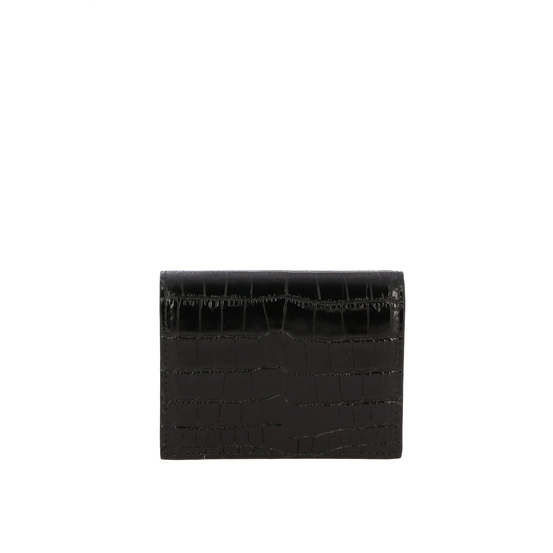 Kleines Miu Miu Portemonnaie aus Leder mit Kroko Druck schwarz 3