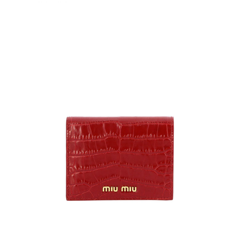 Portafoglio Miu Miu in pelle stampa cocco piccolo rosso 1
