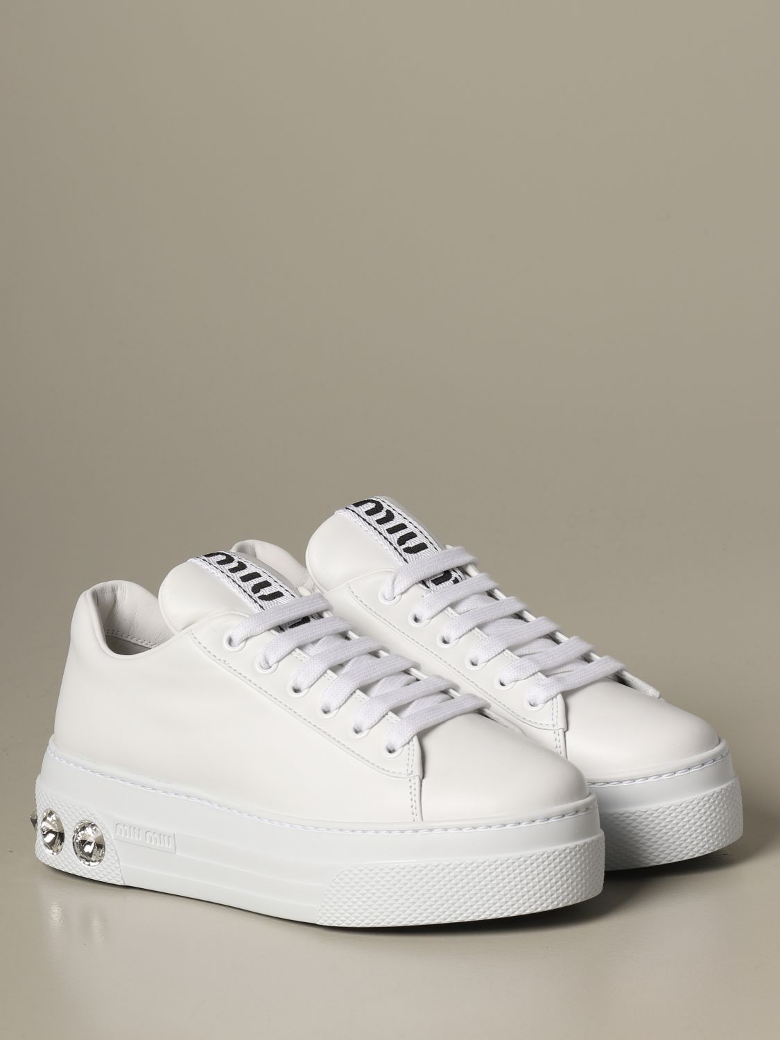 Sneakers pelle suola strass bianco 2