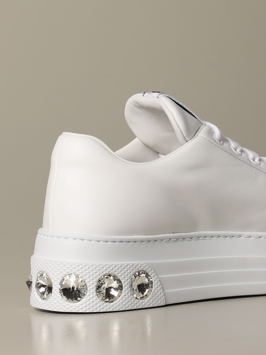 Sneakers pelle suola strass bianco 3