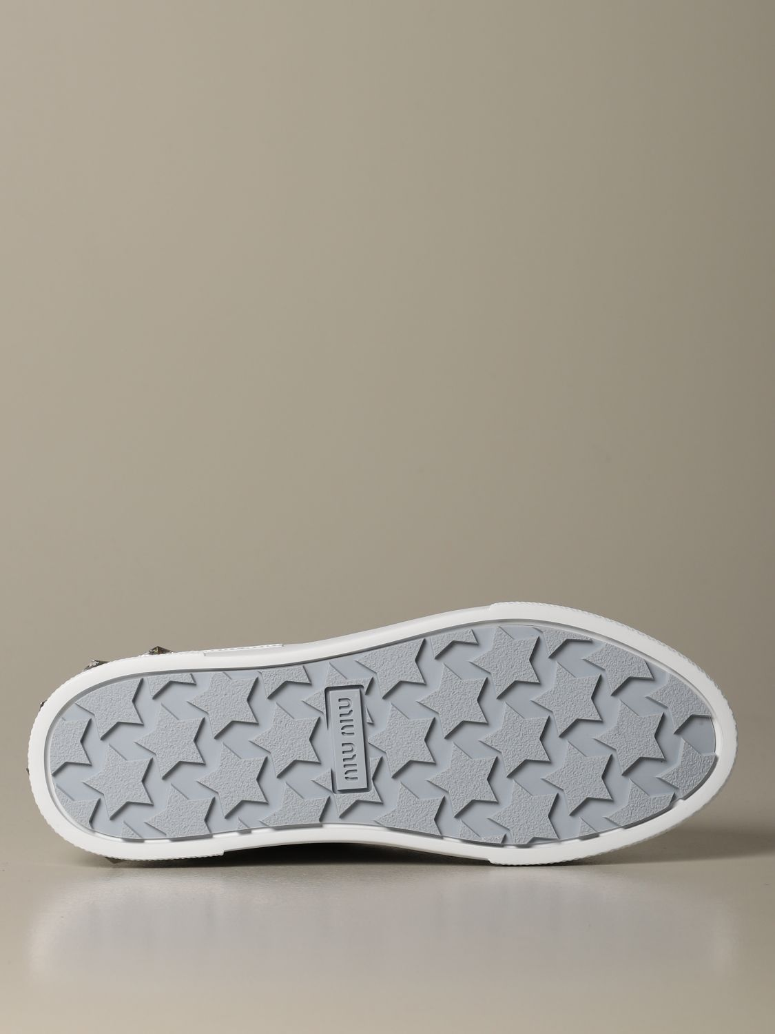 Sneakers pelle suola strass bianco 4