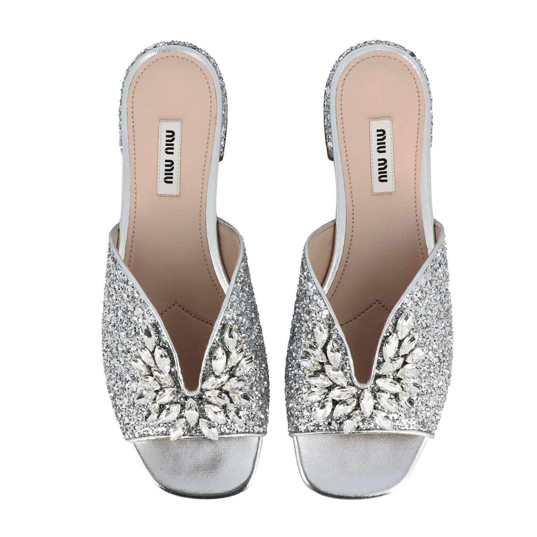 Miu Miu flat glitter sandal with