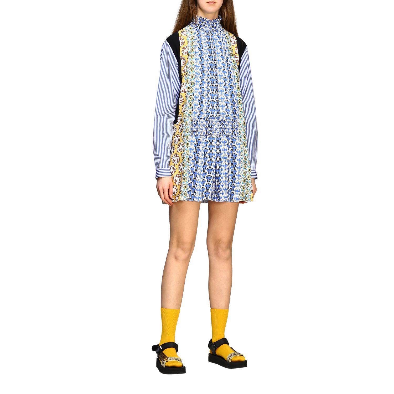 Mini Prada Kleid Aus Popeline Und Seide Mit Blumen Print Kleid Prada Damen Hellblau Kleid Prada P39s5r 1vvc Giglio De