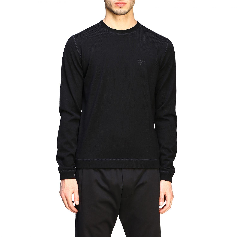 Maglia Prada: Maglia Prada a girocollo in lana con logo nero 1