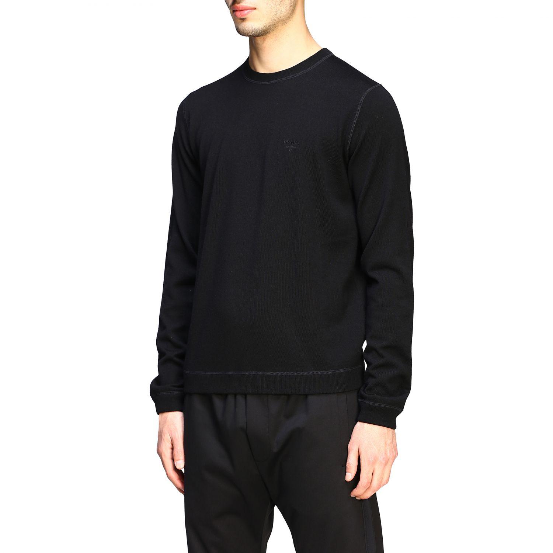 Maglia Prada: Maglia Prada a girocollo in lana con logo nero 4