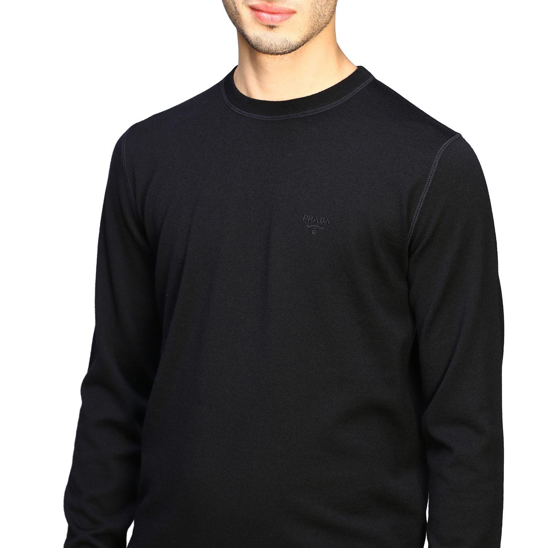Maglia Prada: Maglia Prada a girocollo in lana con logo nero 5