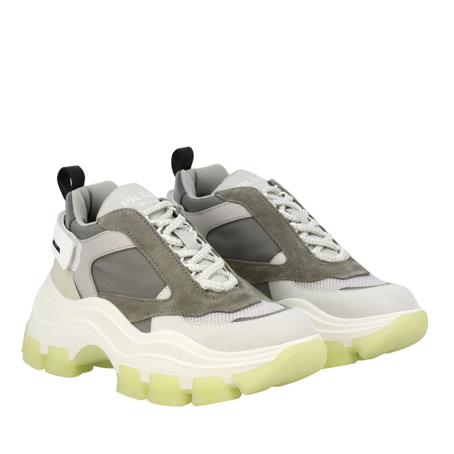 chunky Prada sneakers in suede leather