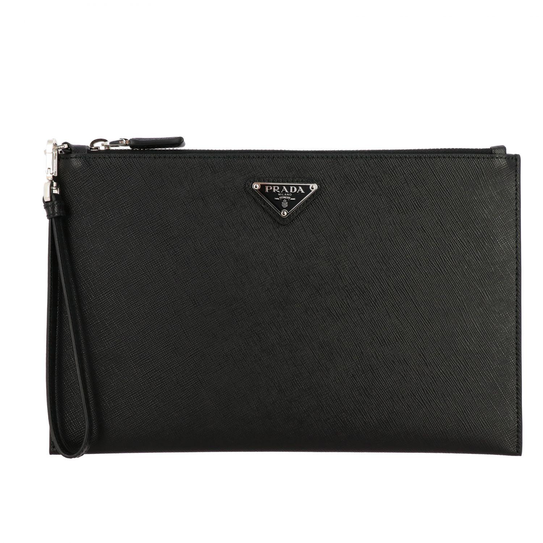 Сумка-пошет Prada из сафьяновой кожи с логотипом черный 1
