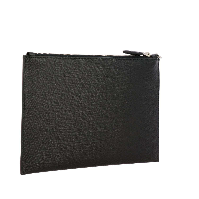 Сумка-пошет Prada из сафьяновой кожи с логотипом черный 3