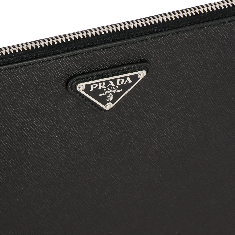 Сумка-пошет Prada из сафьяновой кожи с логотипом черный 4