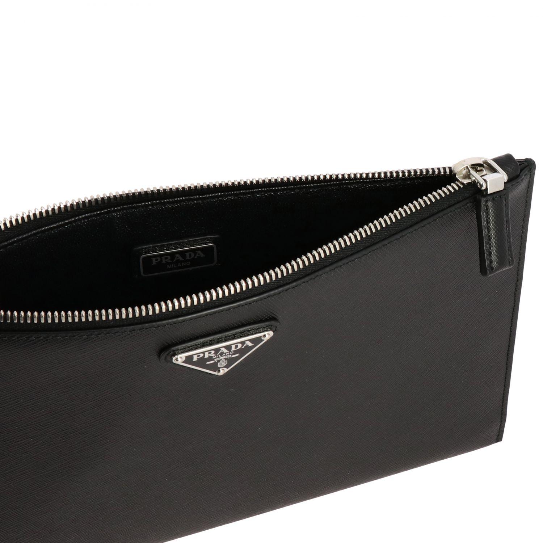 Сумка-пошет Prada из сафьяновой кожи с логотипом черный 5