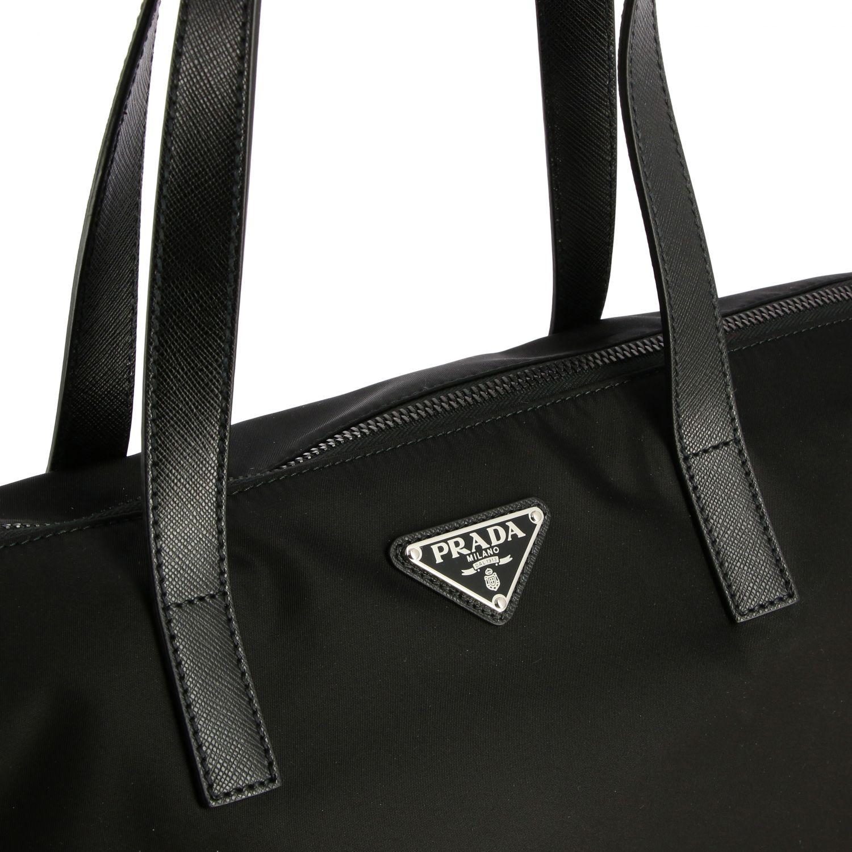 Borsa Tote Prada in nylon e pelle con logo triangolare nero 4